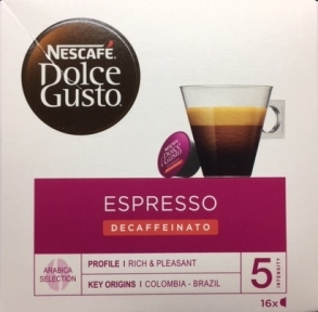 Кофе натуральный, обжареный, молотый ESPRESSO DECAFFEINATO, 16 капсул, 12281214, NESCAFE DOLCE GUSTO